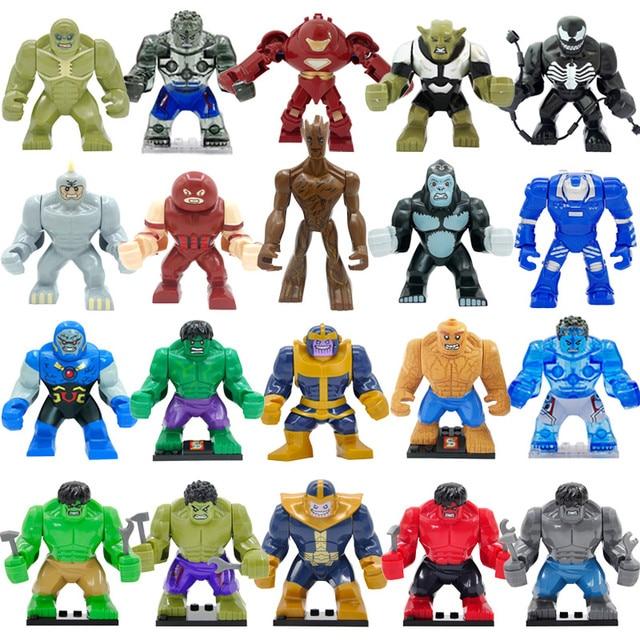 1 PS Bloco Super Action Hero Alta Vingadores Hulk Dogshank Darkseid Gorila Grodd Mark 38 Igor Brinquedos para As Crianças