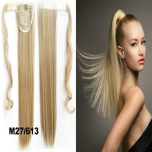 1PC 22inch 90g  Synthetic Long Straight Clip In Ribbon Ponytail Hair Extension hairpiece pony Tail Hair Pieces