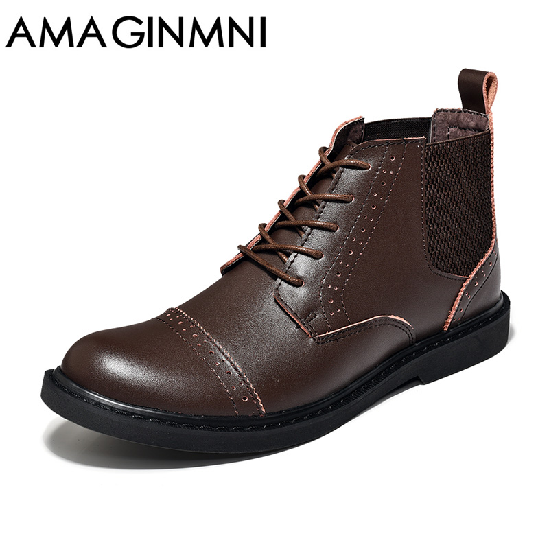 AMAGINMNI British Style Vintage Men Boots Crazy Genuine Leather Martin Men Autumn Boots Work Hiking Winter Ankle Boots Shoes