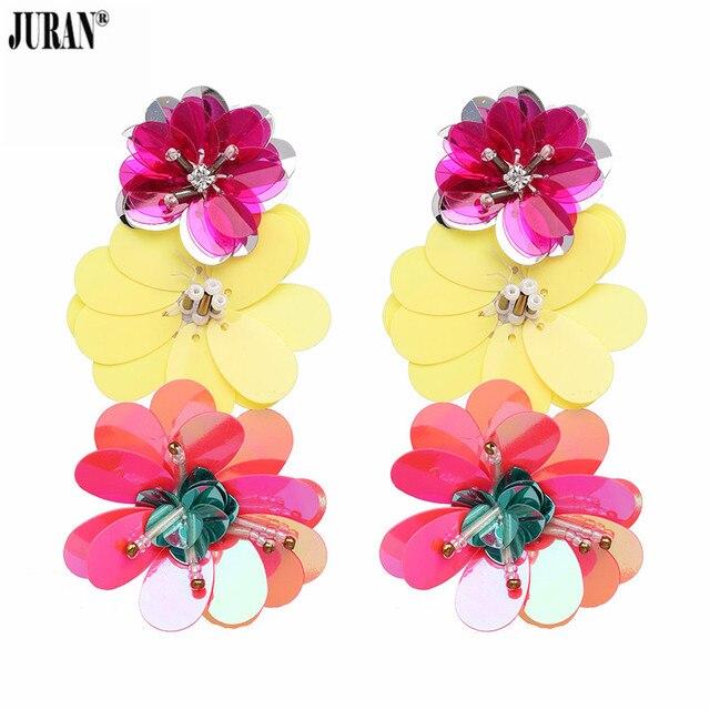 195eed2f12a4 JURAN gran venta Color caramelo lentejuelas flores pendientes largos para  mujer moda Bohemia declaración pendientes grandes