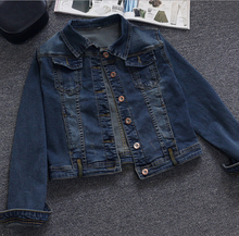 New autumn Women's Denim Jacket Korea Style Jeans jacket Cowboy lapel long sleeve single-breasted Jackets outwear plus size D29
