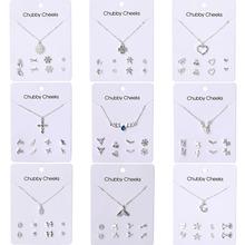 VKME Korean version necklace earrings set jewelry NE+EA women #8217 s earrings necklace new 2019 party gift cheap Zinc Alloy lovers Cubic Zirconia TRENDY Necklace earring set Necklace Earrings Fashion Necklace + earrings ZL0000348 Jewelry Sets