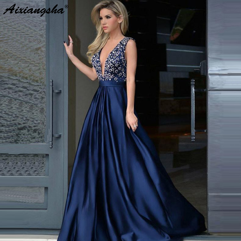 Sexy 2019 longues robes de bal a-ligne col en v sans manches a-ligne strass foncé marine Sexy longue robe de bal robe de soirée