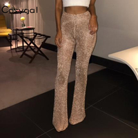 COSYGAL Sexy High Waist Flare Pants Women Club Wear Long Trousers 2018 New Flattering Drawstring Elastic Waist Summer Pant