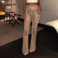COSYGAL Sexy High Waist Flare Pants Women Club Wear Long Trousers 2018 New Flattering Drawstring Elastic Waist Summer Pant