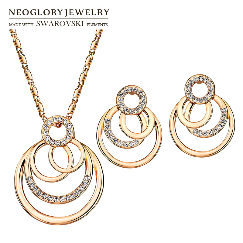Neoglory Austria Rhinestone Jewelry Set Trendy Geometric Round Metal Rose Gold Color para collar y aretes Lady Romantic Sale