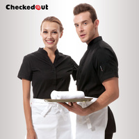 Free Shipping V Neck Work Wear Uniform Checkedout Waiter Shirt Cheapest Waiter Clothes Restaurant Uniform
