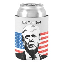 Donald Trump American Flag Custom Text Can Cooler Home Decor Personalized Neoprene Can Coolers Beer Holder for Family Members