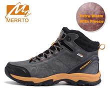 MERRTO Waterproof Hiking Boots For Men Outdoor Genuiner Leather Mens Hiking Shoes Winter Fleece Warm Snow Boots Trekking Shoes