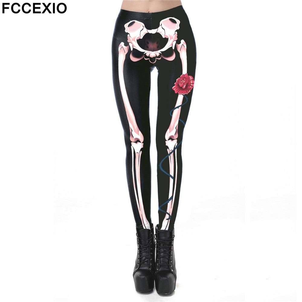FCCEXIO New Halloween 3D Printed Retro Rose Bones Skeleton Sexy Women Casual Punk Rock Leggins High Waist Pants Fitness Leggings