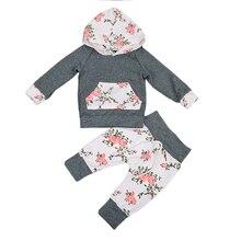 2 шт.! новорожденных Для маленьких мальчиков для девочек с цветочным узором одежда с длинным рукавом с капюшоном Топы Корректирующие + длинные брюки с цветочным принтом Леггинсы комплект одежды из 2 предметов