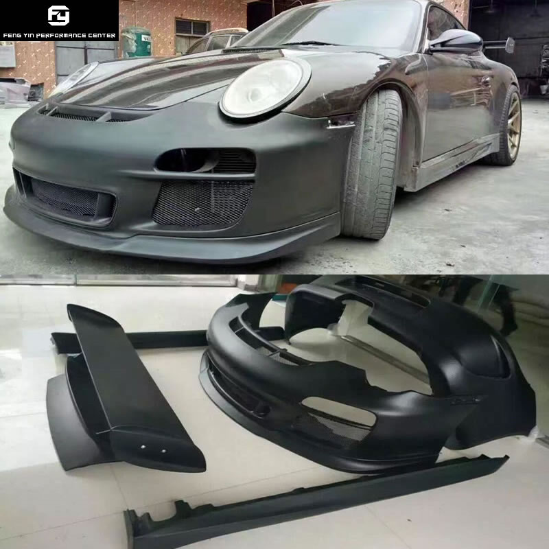 911 997,2 GT3 Стиль передний бампер задний бампер сбоку юбки задний спойлер для Porsche 911 Carrera 997,2 GT3 Стиль Комплект кузова 08-12