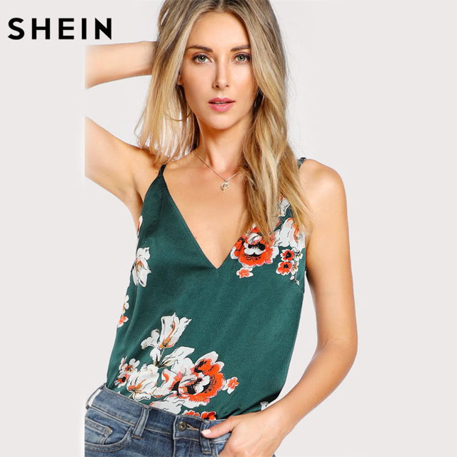 2f6bb900e3aad2 SHEIN Sexy Tops for Women Multicolor Flower Print Double V Neck Cami Top  Summer Spaghetti Strap Floral Print Camisole