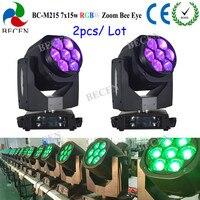 2 шт. 7x15 Вт пчелы глаз LED Moving головной свет RGBW 4in1 зум движущихся мыть этап DJ освещение для партия