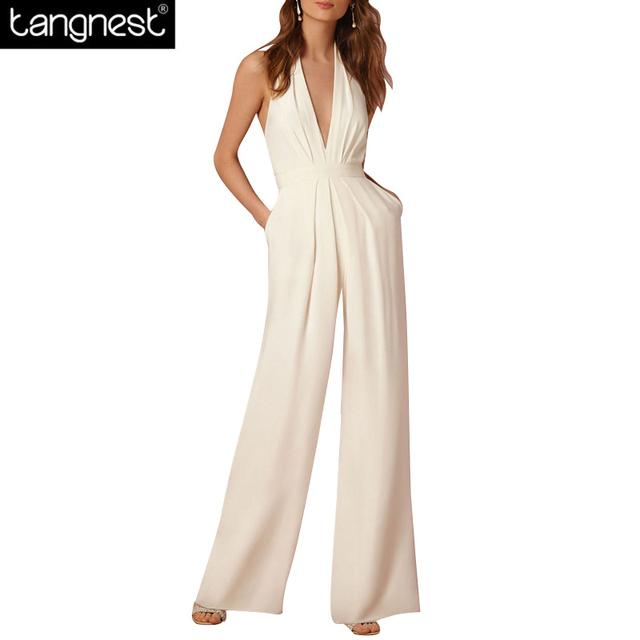 Tangnest sexy backless perna larga solto halter jumpsuit 2017 moda festa mulher romper branco ol macacão sem mangas ocasional wkl788