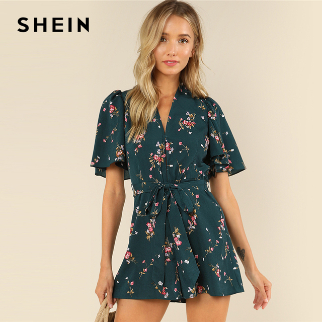 ed1248301e0c SHEIN Green Vacation Bohemian Beach Floral Print Plunge V Neck Flounce Sleeve  Belted Ditsy Romper Summer Women Casual Jumpsuit
