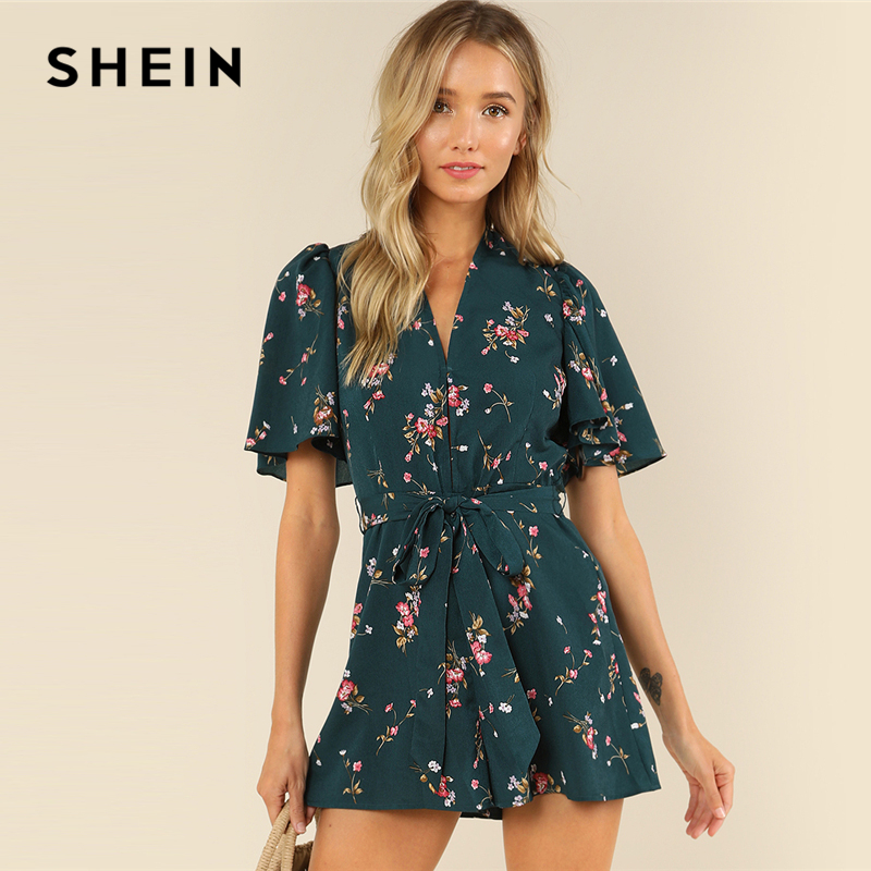 SHEIN Green Vacation Bohemian Beach Floral Print Plunge V Neck Flounce Sleeve Belted Ditsy Romper Summer Women Casual Jumpsuit