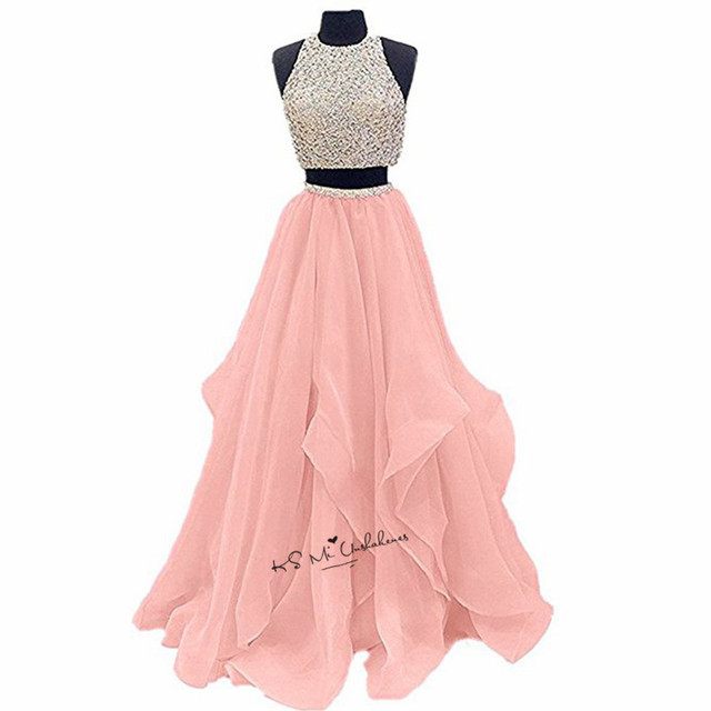 Pink Luxury 2 Piece Prom Dresses 2018 Crystals Organza Open Back