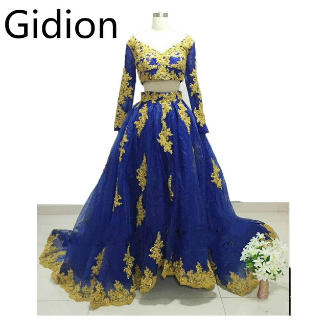 f063379dd76 2017 real picture royal blue two piece gold appliques prom dress long  sleeve v neckline open