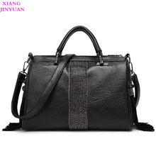 e9f663510011 Women 2017 Fall Winter New Shoulder Totes Kpop PU Messenger Bag Personaltiy Ladies  Handbag Fashion Graceful Travel Big Black Bag