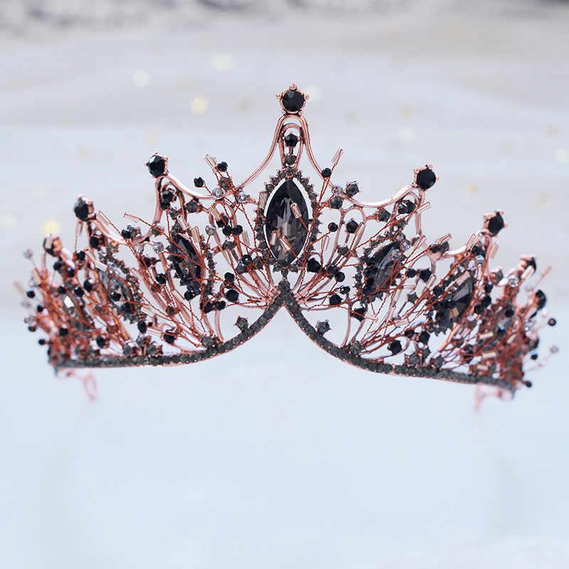 CC งานแต่งงานเครื่องประดับมงกุฎ tiara hairbands สไตล์บาร็อคหมั้นอุปกรณ์เสริมผมสำหรับเจ้าสาว water drop black cubic zircon XY373