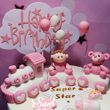 Pink Blue White Boy And Girl Little Train Bear Balloon Star Cake Topper for Party Decoration Dessert lovely Gifts