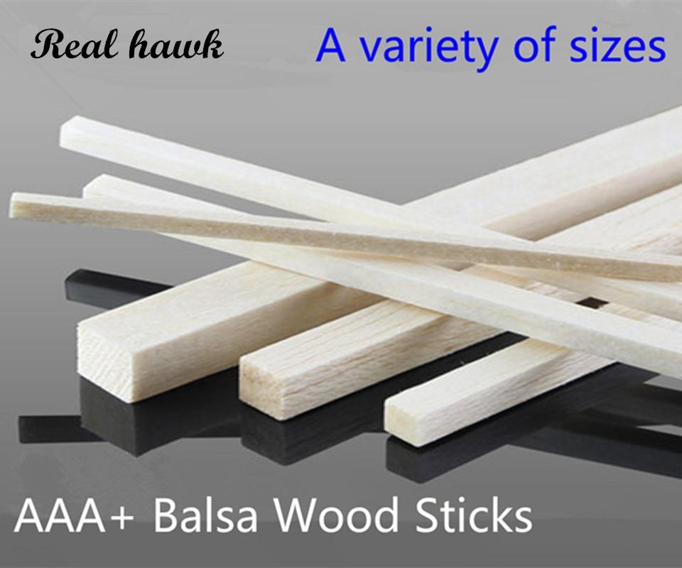 500 mm de largo 2x2 / 3x3 / 4x4 / 5x5 / 6x6 / 8x8mm Barra cuadrada de madera larga AAA + Palos de madera de balsa Tiras para avión / barco Modelo DIY