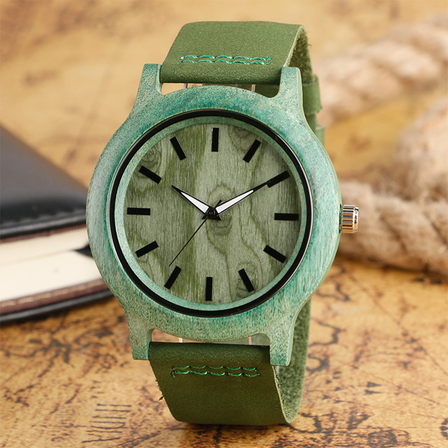 Top Gifts Fashion Green Watch Mens Womens Natural Handmade Bamboo Wooden Quartz Clock Trendy Genuine Leather Relogio Feminino