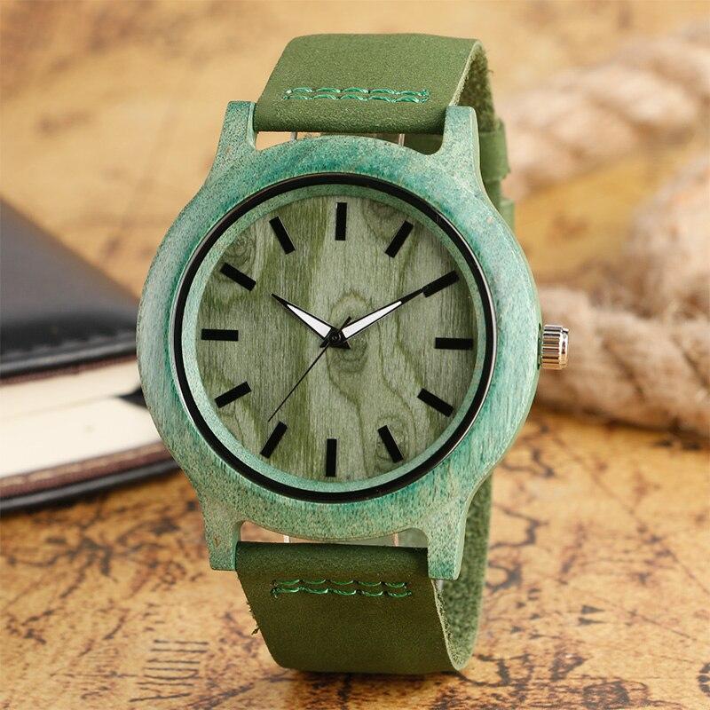 Top cadeaux mode montre verte pour hommes femmes naturel fait à la main en bambou en bois Quartz horloge à la mode en cuir véritable Relogio Feminino