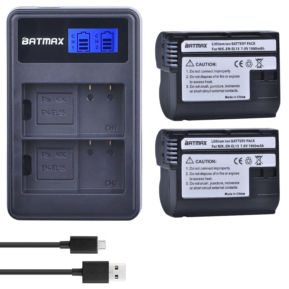 Digital SLR D800 MB-D12 EN-EL15 2x BATERIA 2000mAh para Nikon 1 V1