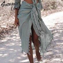 6ce910ca59 Sexy Beach Cover Ups tassel Wrap Skirt Bikinis 2019 Swimsuit Female  Swimwear Women Solid Pareo Summer. 4 Colors Available