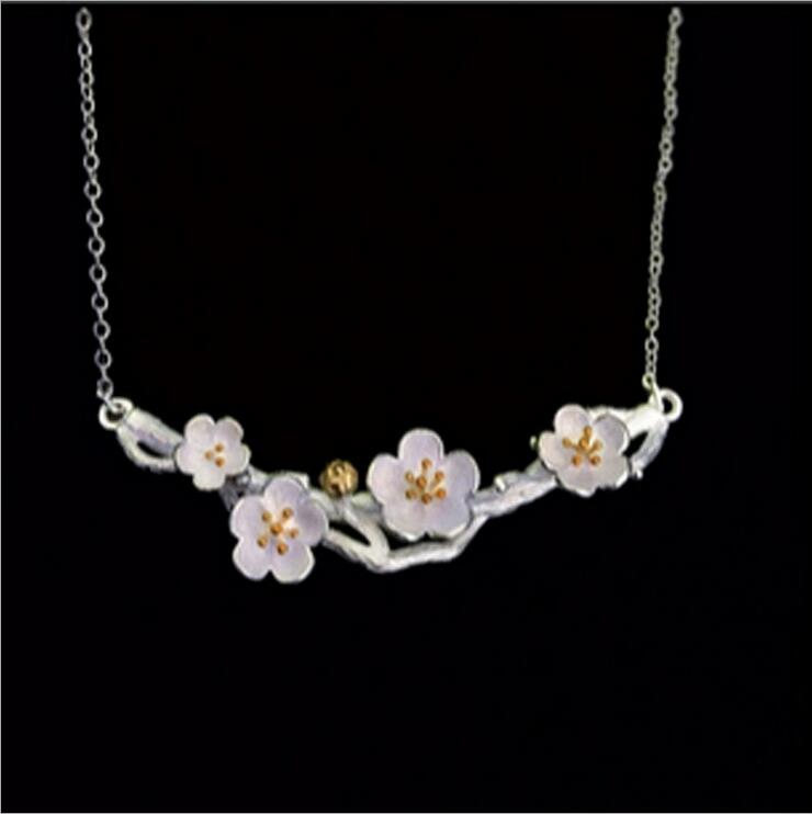 925 Sterling Silver Jewelry Vintage Cherry Blossom Necklace Fashion Summer Branch Gold Flowers Necklaces & Pendants For Women