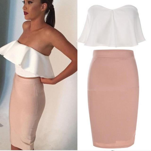 ce220d5dd4 2 Pcs Women Ladies Sexy Strapless Ruffle Crop Top Pencil Skirt Bandage  Bodycon Party Dresses Set Pink and White