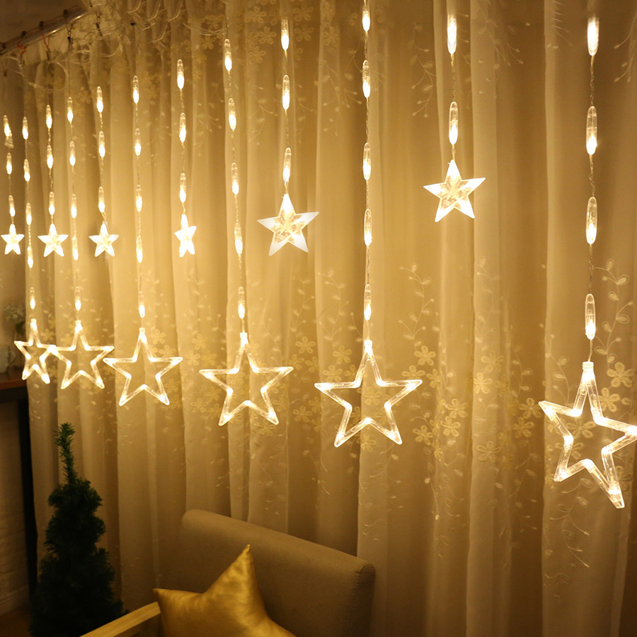 Thrisdar Upgrade 2.5M Romantic Fairy Star Led Curtain String Light 220V Xmas Wedding Party Holiday Window Icicle Garland Light 12 leds romantic fairy star led curtain string light warm white eu us 220v xmas garland light for wedding party holiday deco