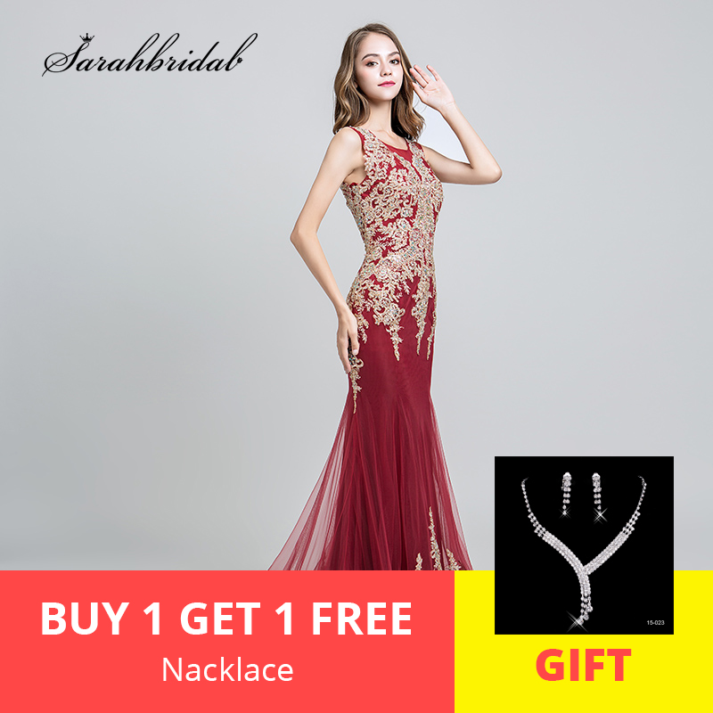 In Stock New Arrivals Luxury Mermaid   Evening     Dresses   With O Neck Lace Crystal Prom Gowns Real Photos Robe De Soiree LSX526
