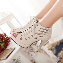 2015Europe and America sexy women's soft leather cross-strap fish mouth high heels sandals Reticular high top shoes grils shoes