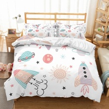 Space Rocket Planet Boys Duvet Cover Sets White/Pink/Blue 3 Pieces (1 2 Pillowcases) Star Bedding Set