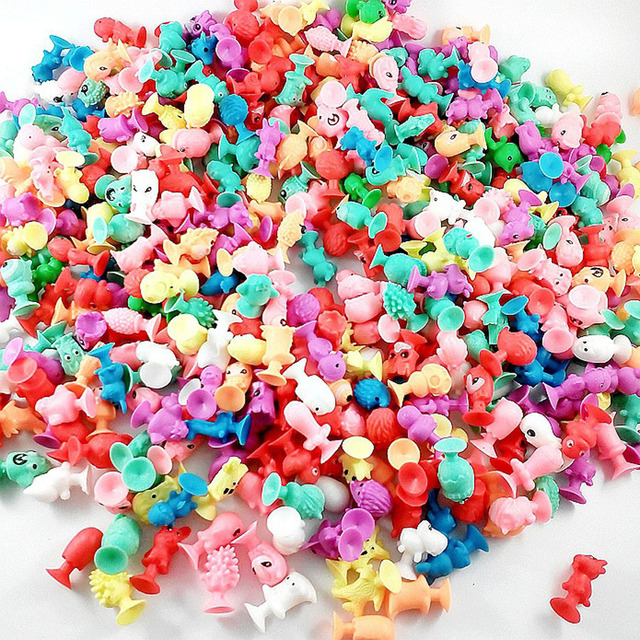 50 PCS/lot good Cupule kids Cartoon Animal Action Figures toys Sucker kids Mini Suction Cup Collector Capsule model toy for kids