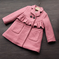 fashion solid pink girls winter coat 2017 warm baby girl wool clothing Single-breasted children outerwear baby outfits costume