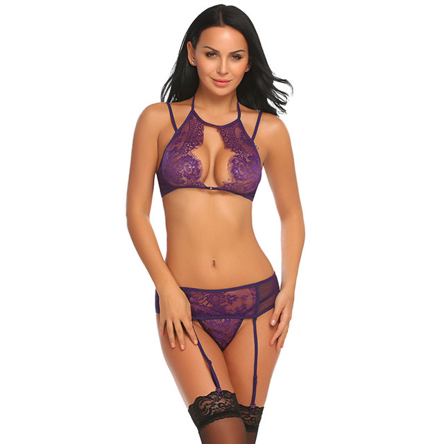 LACE BRA WITH G-STRING & GARTER SEXY LINGERIE