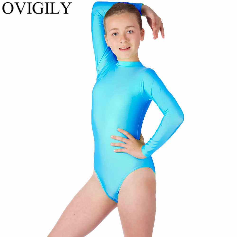 f1ae3a5b08038 Detail Feedback Questions about OVIGILY Children's High Neck Leotard  Gymnastics Performance Leotards For Girls Turtleneck Long Sleeve Ballet  Dance Short ...