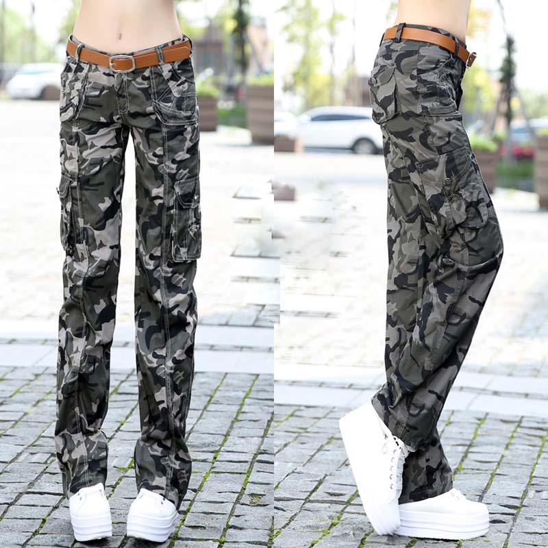 Spring Autumn Women's Camouflage Full Jogger Cargo Pants Female Casual Pants Camouflage Trousers