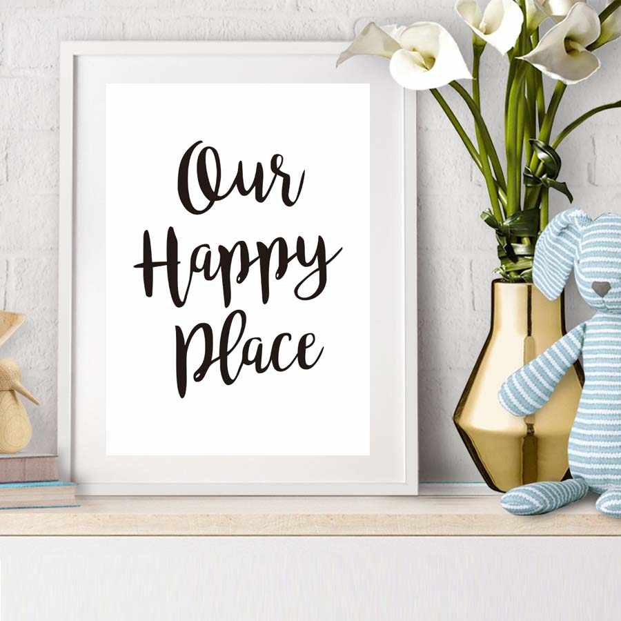 Our Happy Place Canvas Art Poster Black White Letters Prints Paintings Nordic Minimalist Home Decorative Wall Pictures No frame