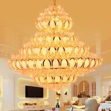 LED Light Modern Crystal Chandeliers Lights Fixture Lotus Flower Golden Crystal Chandelier Home Indoor Lighting Temple Lamps