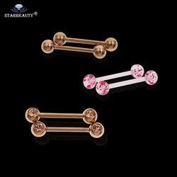 2 adet/grup Gül Altın Şeffaf Akrilik Sahte Meme Piercing Halter Damızlık Yüzük Manyetik göbek takısı küpe geçici benzersiz hediye