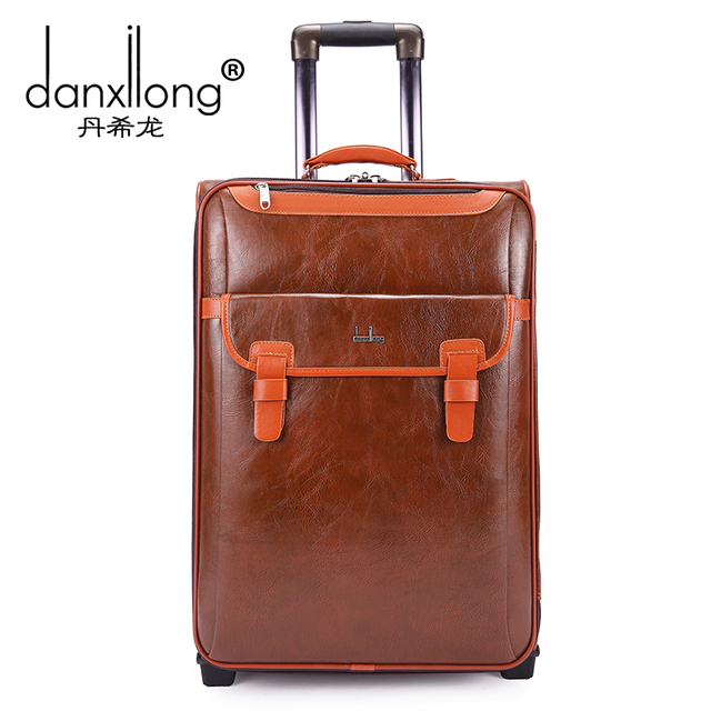 Vintage trolley male women's suitcase luggage commercial trolley luggage bag travel bag 20 22 24,high quality pu leather bag