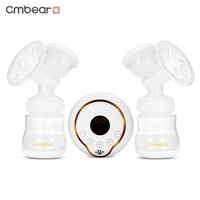 Cmbear Electric Double Breast Pumps USB Bottle LCD Display Milk Bottle PP Unilateral Convenient Powerful Baby Breastfeeding
