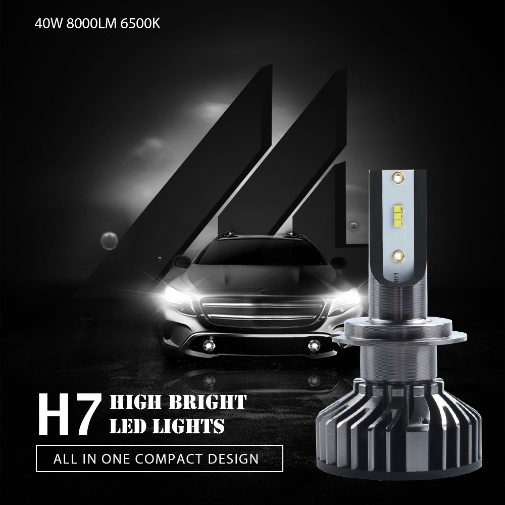 H7 LED Headlight Bulbs Car H4 H11 H1 9005 9006 9012 880 ZES LED 40W 8000LM 6500K 12V Automobile Headlamp Fog Lights Car Styling in Car Headlight Bulbs LED from Automobiles Motorcycles