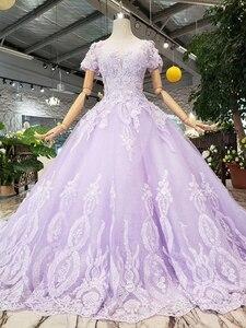 Image 3 - LS00017G 紫色のイブニングドレス半袖 o ネックビーズアップリケレースのロングイブニングドレス 2019 vestido デ 15 各公報デデビュタント