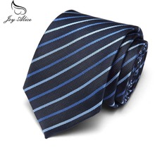 7.5 cm Slim Neck Ties for Wedding Tie Skinny Groom Men Navy Blue Classic Bridegroom Striped Black Color